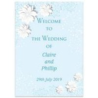 Personalised Blue Spring Blossom Welcome Wedding Sign