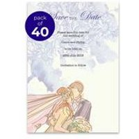 40 Personalised Purple Flowers Save The Date Cards