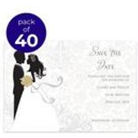 40 Personalised Silhouette Save The Date Cards