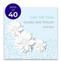 40 Personalised Blue Spring Blossom Save The Date Cards