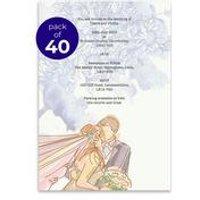 40 Personalsied Purple Flowers Wedding Invitations
