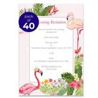 40 Personalised Flamingo Evening Invitations