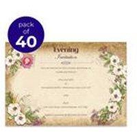 40 Personalised Vintage Floral Evening Invitations
