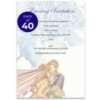 40 Personalsied Purple Flowers Evening Invitations