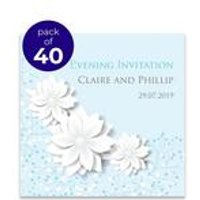 40 Personalised Blue Spring Blossom Evening Invitations