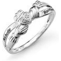 Personalised Sterling Silver Diamond Claddagh Ring