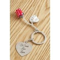 Personalised Mini Rose Keyring
