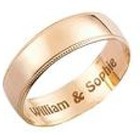 Personalised 9ct Yellow Gold Millgrain Wedding Ring - 6mm