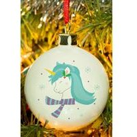 Personalised Winter Unicorn Bauble
