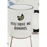 Personalised You Drive Me Bananas Black Rimmed Mug