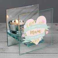 Personalised Floral Heart Tea Light Holder