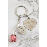 Personalised Rose Keyring