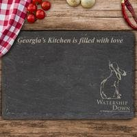Personalised Watership Down Clover Slate Chopping Board