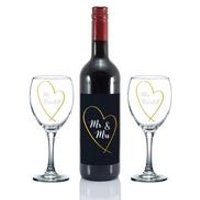 Personalised Mr and Mrs Gold Heart Red Wine Gift Set