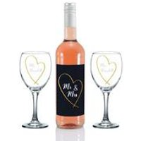 Personalised Mr and Mrs Gold Heart Rose Wine Gift Set