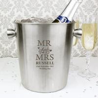 Personalised Mr and Mrs Stainless Steel Ice Bucket
