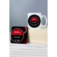 Personalised Vintage Record Mug and Coaster