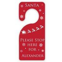 Personalised Santa Stop Here Christmas Door Hanger
