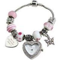 Personalised Pink Charm Watch Bracelet