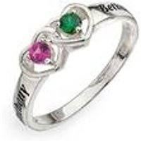 Personalised 2 Names 2 Birthstones Ring
