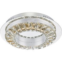 Alma Chrome & Crystal Flush LED Ceiling Light