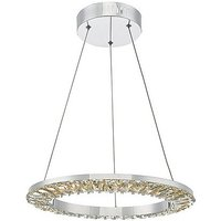 Alma Chrome & Crystal Pendant LED Ceiling Light - Clear