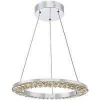 Alma Chrome and Crystal Pendant LED Ceiling Light - Clear