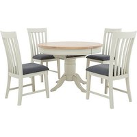 Furnitureland - Angeles Round Extending Dining Table and 4 Wooden Dining Chairs
