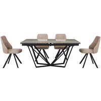 Aquila Extending Dining Table and 4 Swivel Dining Chairs
