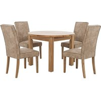 California Extending Round Dining Table and 4 Faux Suede Chairs