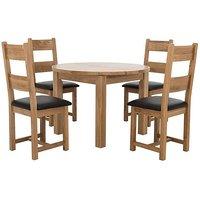 Furnitureland - California Round Solid Oak Extending Dining