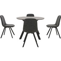 Diego Round Dining Table and 4 Dining Chairs - Grey