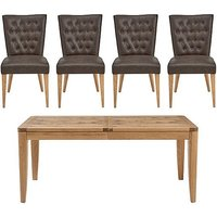 Dorset Small Extending Dining Table and 4 Faux Leather Dinin