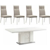 ALF - Fascino Extending Dining Table and 4 Faux Leather Dini