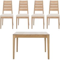 Romana Small Extending Dining Table and 4 Slatted Dining Cha