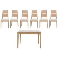 Romana Small Extending Dining Table and 6 Slatted Dining Cha