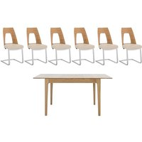 Romana Small Extending Dining Table and 6 Cantilevered Dinin