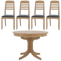Nathan - Shades Extending Round Pedestal Dining Table and 4
