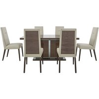 ALF - Vito Large Extending Dining Table and 6 Cream Faux Lea