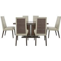 ALF - Vito Small Extending Dining Table and 6 Cream Faux Lea