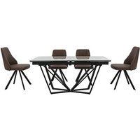 Aquila Extending Dining Table and 4 Swivel Dining Chairs - B