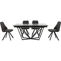 Aquila Extending Dining Table and 4 Swivel Dining Chairs - G