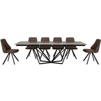 Aquila Extending Dining Table and 6 Swivel Dining Chairs - B