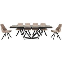 Aquila Extending Dining Table and 6 Swivel Dining Chairs - G