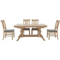 Maison Extending Dining Table and 4 Slatted Dining Chairs -