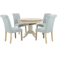 Angeles Round Extending Dining Table and 4 Button Back