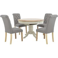 Furnitureland - Angeles Round Extending Dining Table and 4 Button Back Dining Chairs - Grey