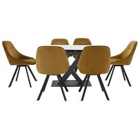 Arctic Extending Dining Table with White Top and 6 Swivel