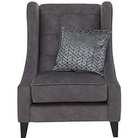 Amora Fabric Winged Accent Chair - Grey