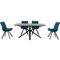 Diego Rectangle Extending Dining Table and 4 Chairs - Teal